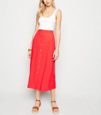 Red Button Front Midaxi Skirt