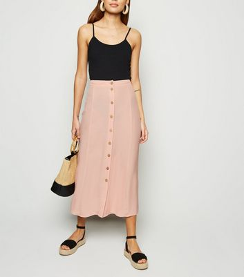 Pale Pink Plain Button Front Midaxi Skirt