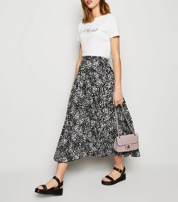 Black Mixed Animal Print Pleated Midi Skirt