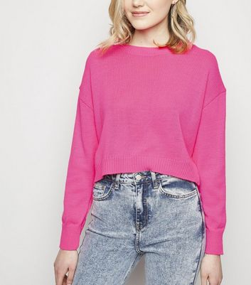 Cameo Rose Bright Pink Neon Fine Knit Jumper