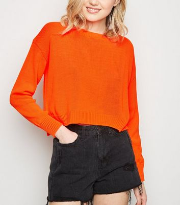 Cameo Rose Bright Orange Neon Fine Knit Jumper