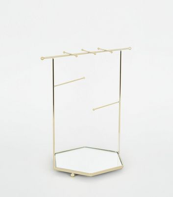Gold Hexagonal Mirrored Jewellery Stand