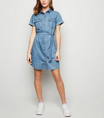 Bright Blue Short Sleeve Denim Shirt Dress