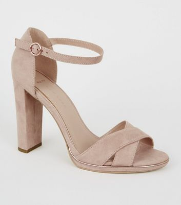 Wide Fit Nude Suedette Metal Piped Trim Sandals