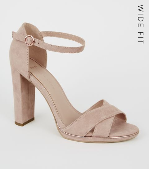 0f28ab318c9 ... Wide Fit Nude Suedette Metal Piped Trim Sandals ...
