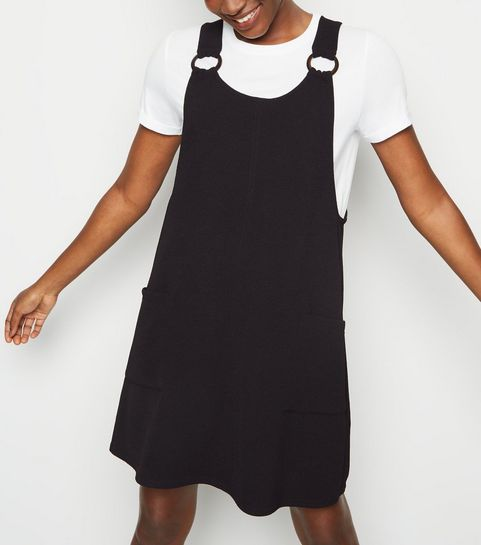 a9cd2c738a ... Black Crepe Round Buckle Pinafore Dress ...