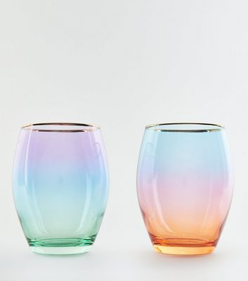 2 Pack Multicoloured Ombré Tumbler Glasses