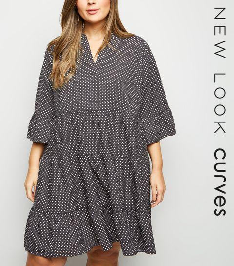 07f4fbd4a88c3 ... Curves Black Spot Print Tiered Smock Dress ...