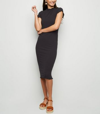Black Ribbed Frill Trim Midi Bodycon Dress