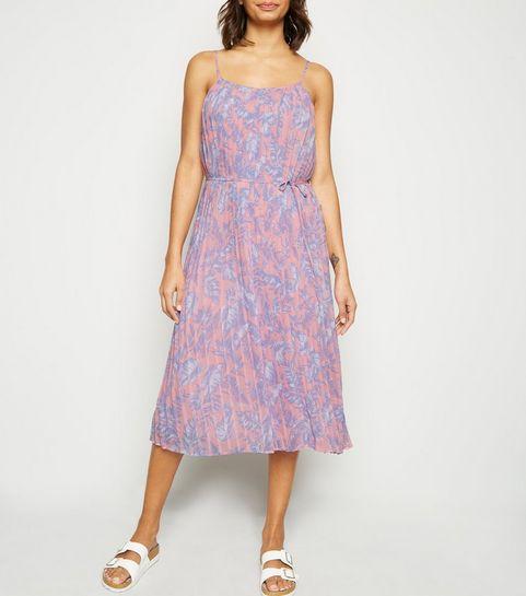 4023f62caf ... Pink Floral Print Cami Midi Dress ...