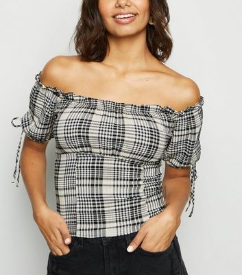 White Check Frill Trim Milkmaid Bardot Top