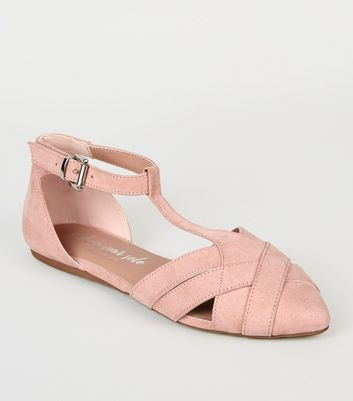 Wide Fit Nude Suedette Pointed Ballet Pumps