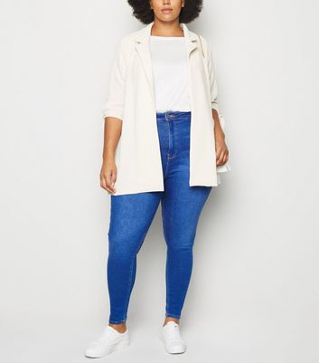 Curves Bright Blue High Waist Skinny Jeans