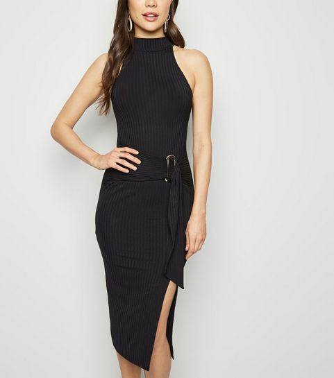 3b35cadf79 ... Black High Neck Belted Bodycon Dress ...
