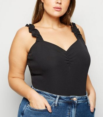 Curves Black Ruched Front Frill Strap Bodysuit