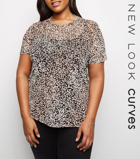 afce8b7e361 ... Curves Pink Leopard Mesh Top ...