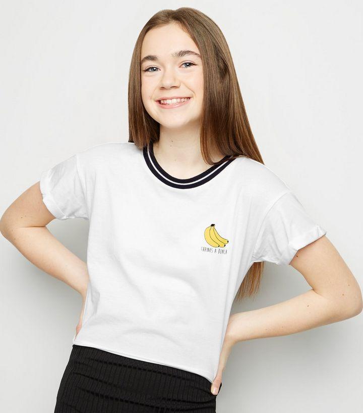 d9b0dc71a Girls White Banana Thanks A Bunch Slogan T-Shirt | New Look