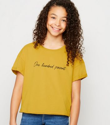 "Girls – Senfgelbes T-Shirt mit ""One Hundred Percent""-Slogan"