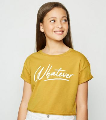 Girls Mustard Whatever Slogan T-shirt