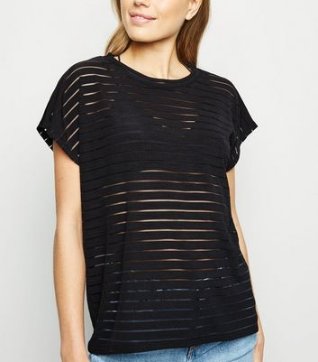 Black Stripe Mesh Oversized T-Shirt