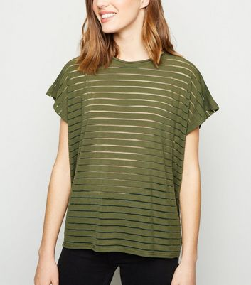 Khaki Stripe Mesh Oversized T-Shirt