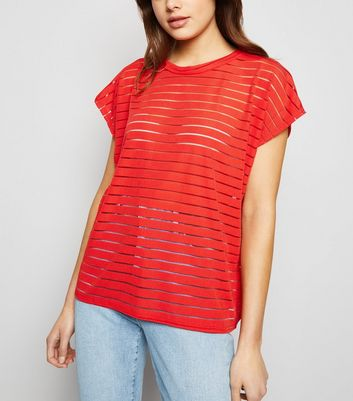 Red Stripe Mesh Oversized T-Shirt