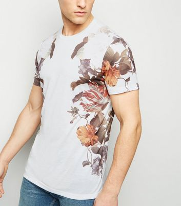 White Floral Print Side T-Shirt