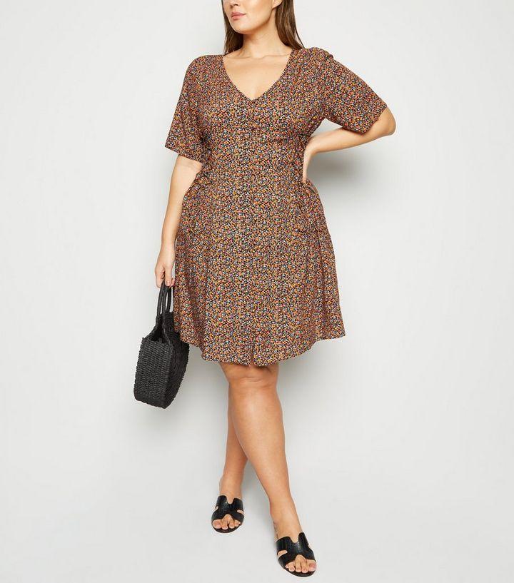 f76eae1a5ad Curves Black Ditsy Floral Button Front Tea Dress