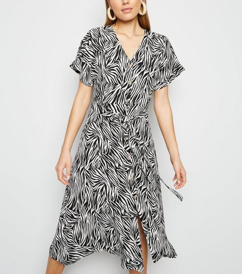 e5a2003e1c63 ... Black Zebra Print Button Up Midi Dress ...