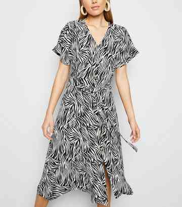 Black Zebra Print Button Up Midi Dress
