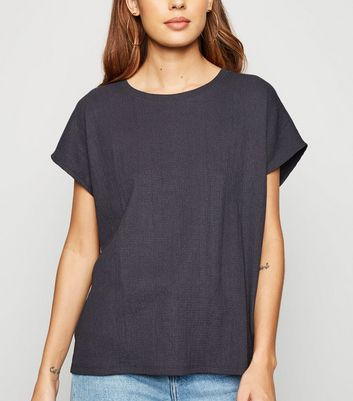 Grey Textured Boxy T-Shirt