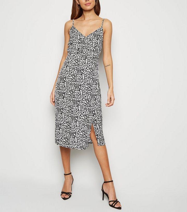 6a1f69528980 White Leopard Print Satin Midi Dress | New Look