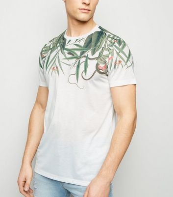 White Jungle Leaf Print T-Shirt