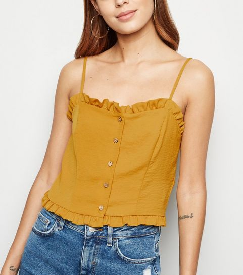 8e0e412739 ... Yellow Frill Button Up Cami ...