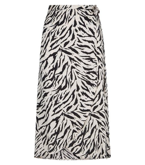 Tiger Print Wrap Midi Skirt