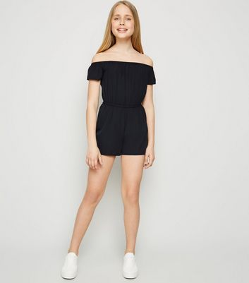 Girls Black Bardot Playsuit
