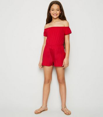 Girls Red Bardot Playsuit