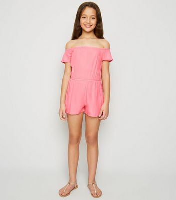 Girls Pink Neon Bardot Playsuit
