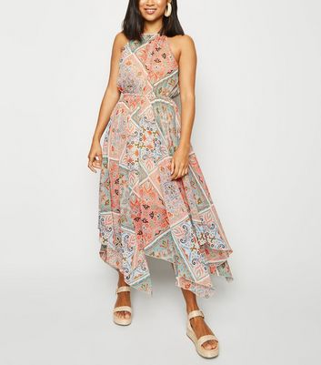 Petite White Scarf Print Chiffon Midi Dress