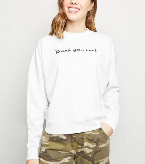 37b592ba1a2 ... Off White Thank You Next Slogan Sweatshirt ...