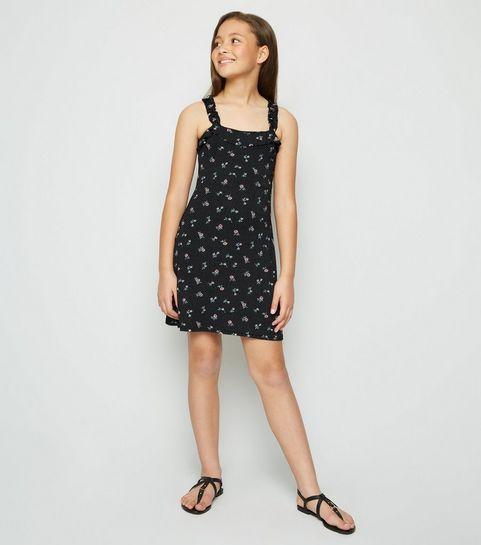 a55ea058310 ... Girls Black Floral Frill Strap Dress ...