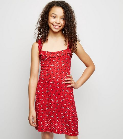 ... Girls Red Floral Frill Strap Dress ... c3920ba0e