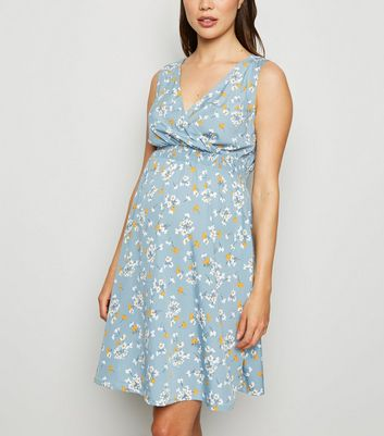 Maternity Blue Floral Wrap Dress