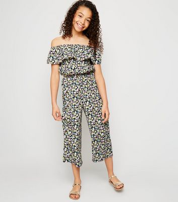 Girls Black Floral Bardot Jumpsuit