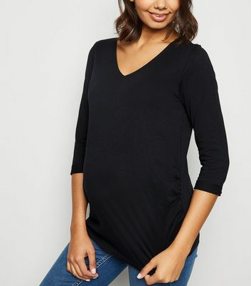 Maternity Black V Neck 3/4 Sleeve Top