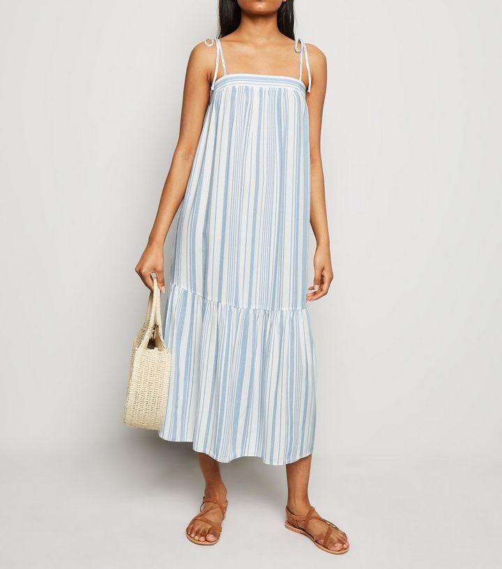 5dfd9f2979 Petite White Stripe Smock Midi Dress | New Look
