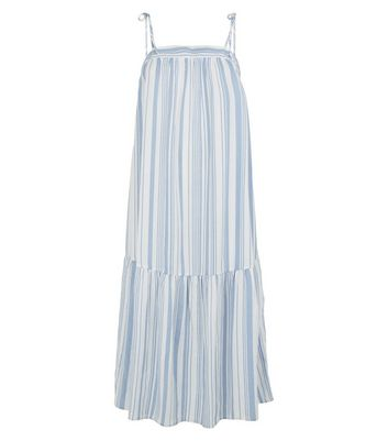petite white stripe smock midi dress new look