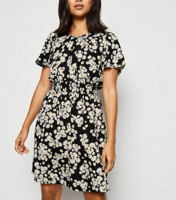 Petite Black Daisy Print Skater Dress