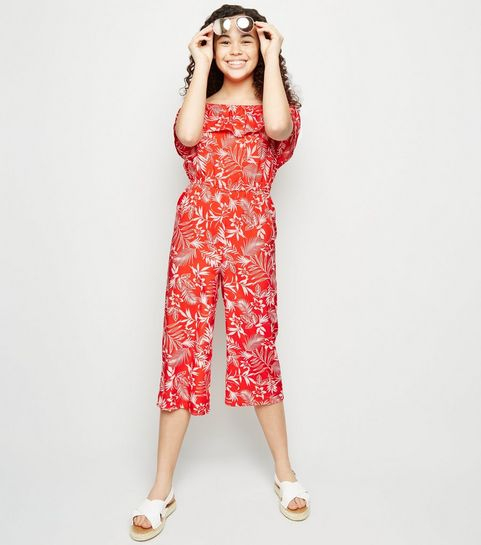 348b6e16d0c0 ... Girls Red Floral Bardot Crop Jumpsuit ...