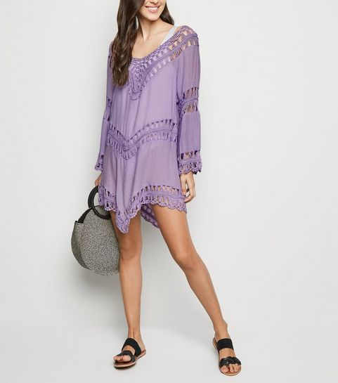 ad8f019d1d ... Cameo Rose Purple Crochet Panel Kaftan ...